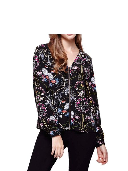 Yumi Floral Collarless Bomber Jacket