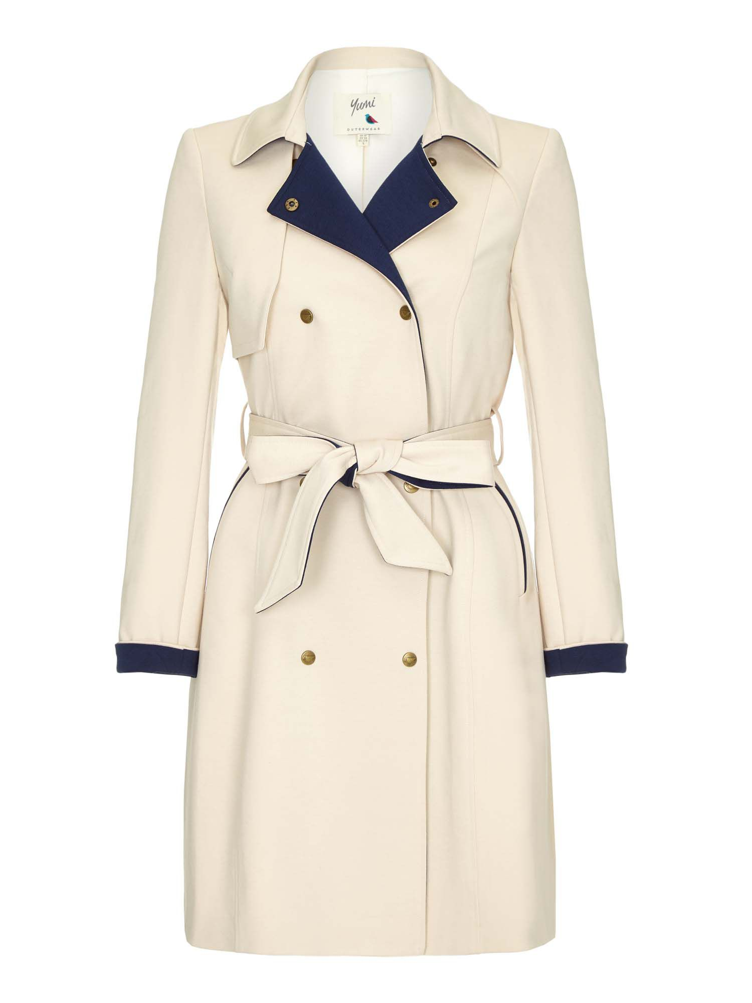 Retro Vintage Style Coats, Jackets, Fur Stoles Yumi Swing Hem Trench Coat Beige £90.00 AT vintagedancer.com
