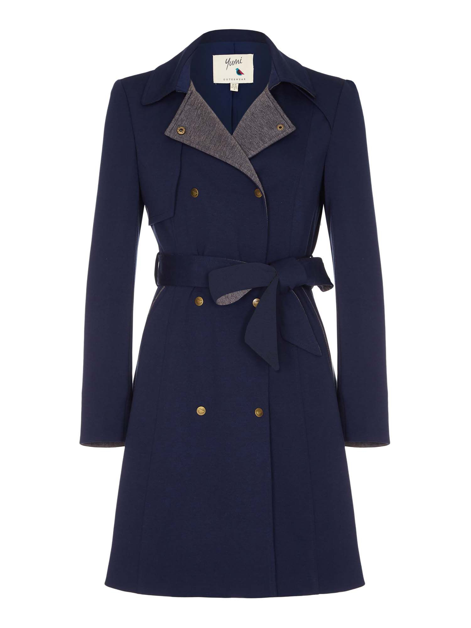 Retro Vintage Style Coats, Jackets, Fur Stoles Yumi Swing Hem Trench Coat Blue £90.00 AT vintagedancer.com