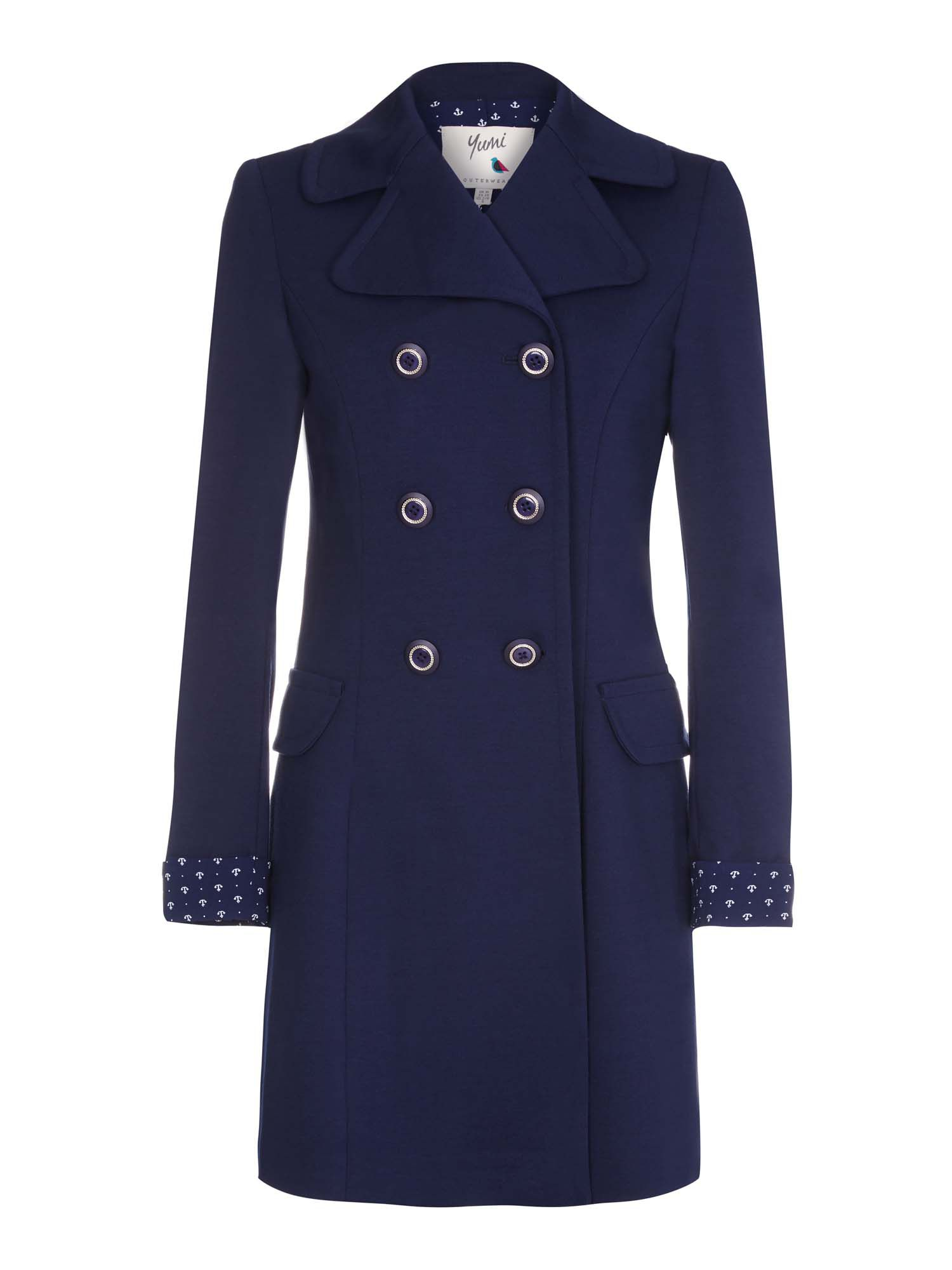 Yumi Double Breasted Ponte Trench Coat, Blue