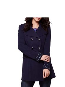 Yumi Double Breasted Ponte Trench Coat