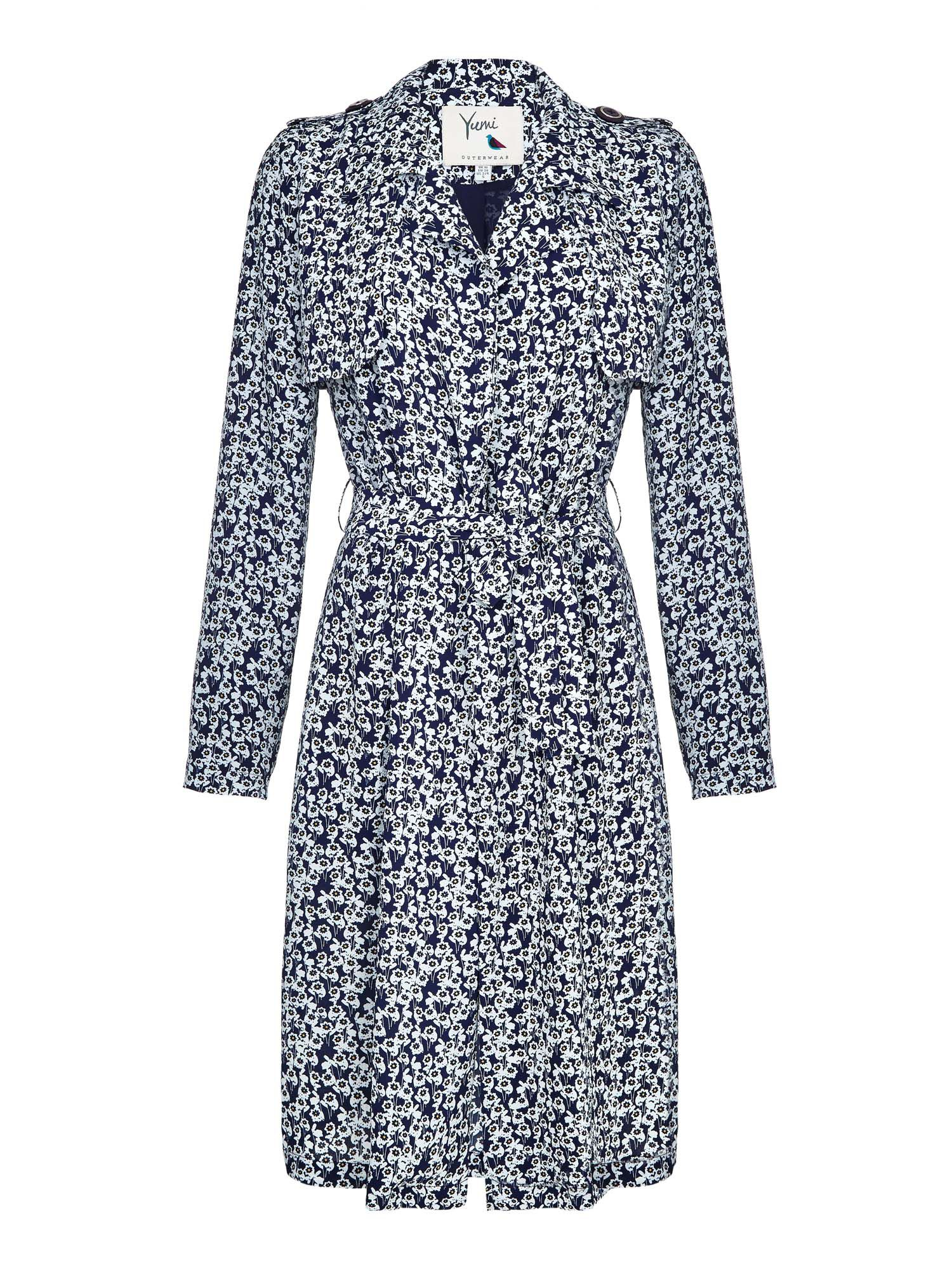 Yumi Floral Trench Coat, Blue