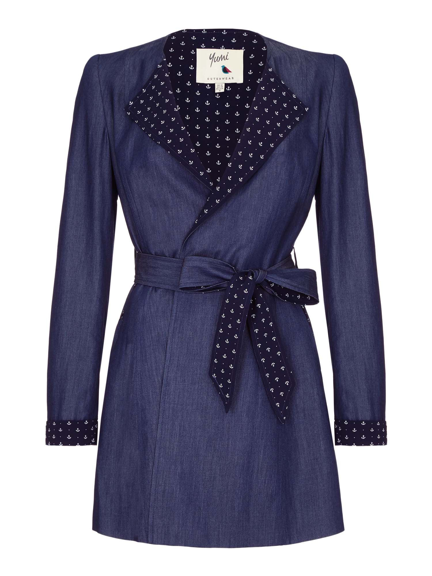Yumi Anchor Wrap Trench Coat, Blue