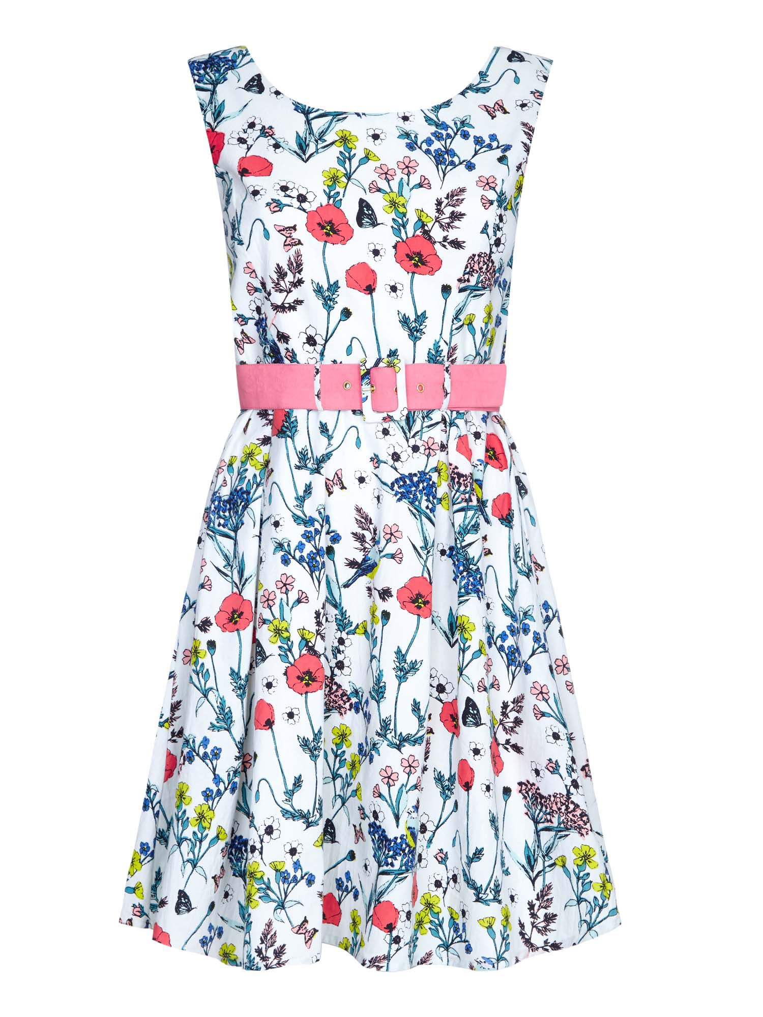 Yumi Floral Belted Day Dress, Cream