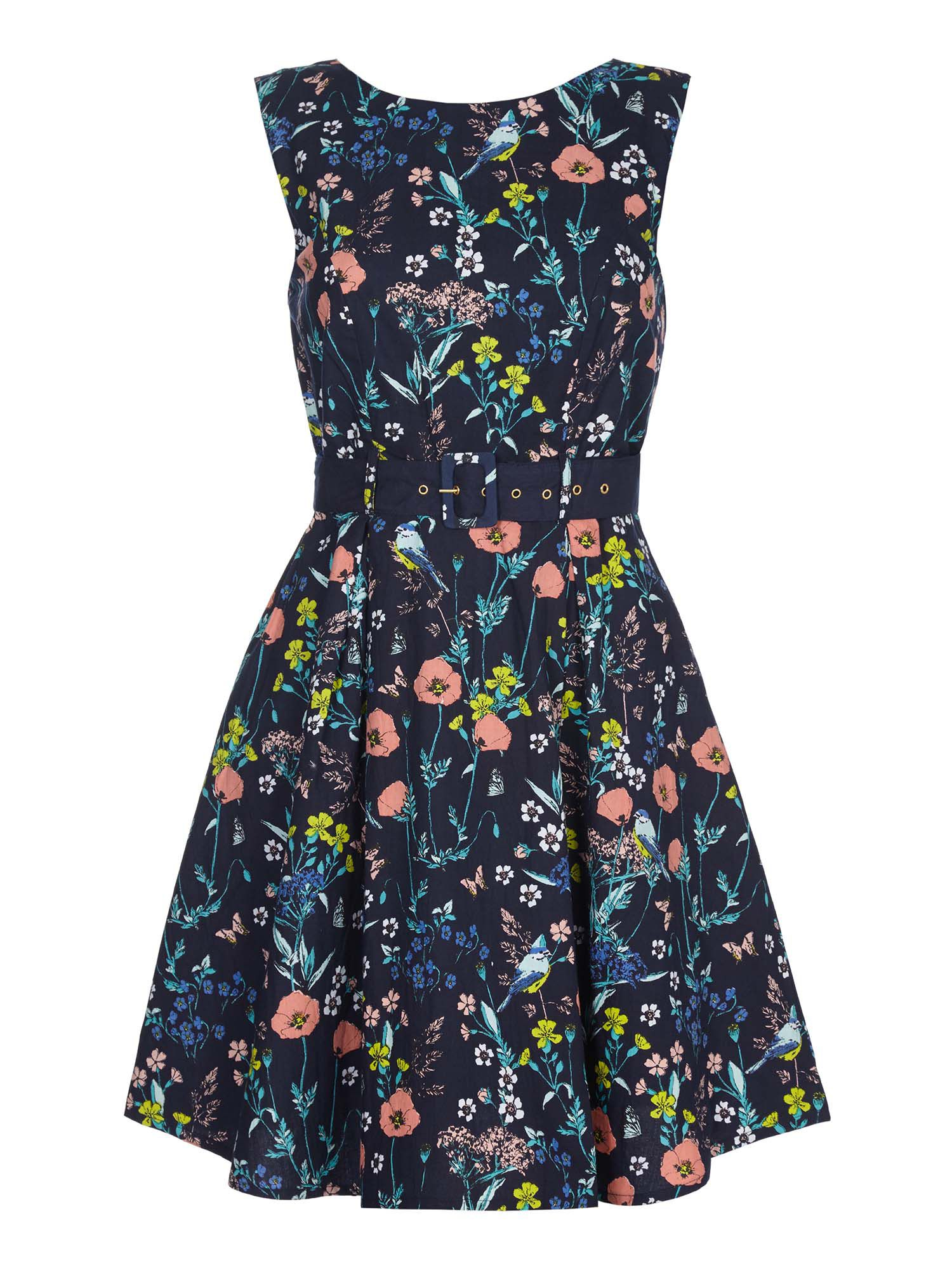 Yumi Floral Belted Day Dress, Blue