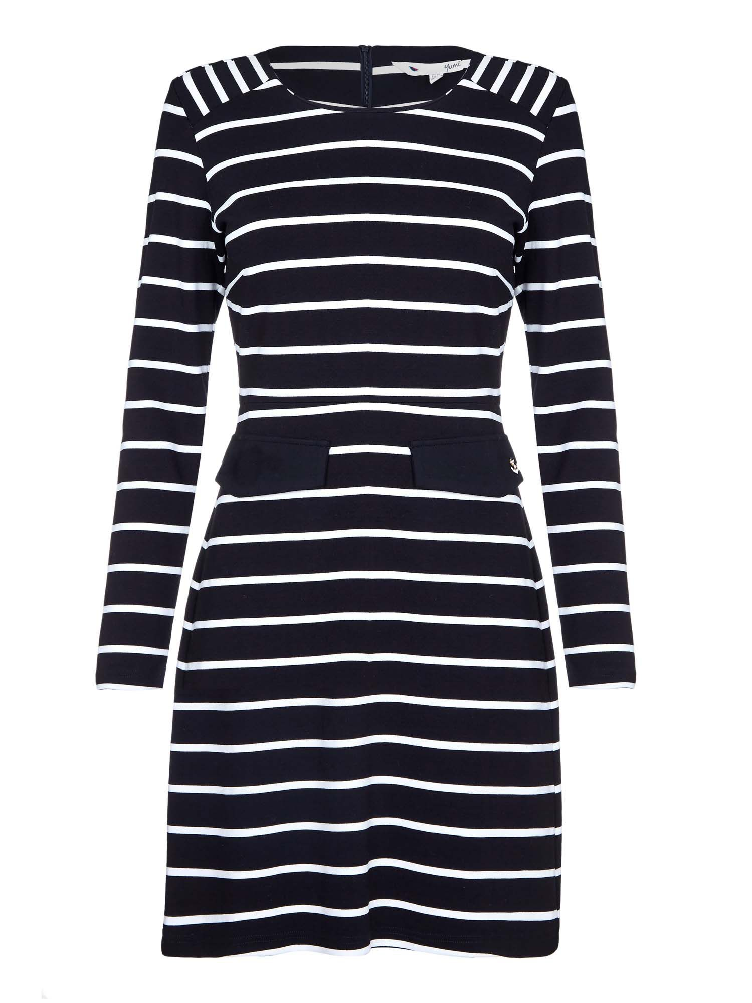 Yumi Ponte Stripe Dress, Black