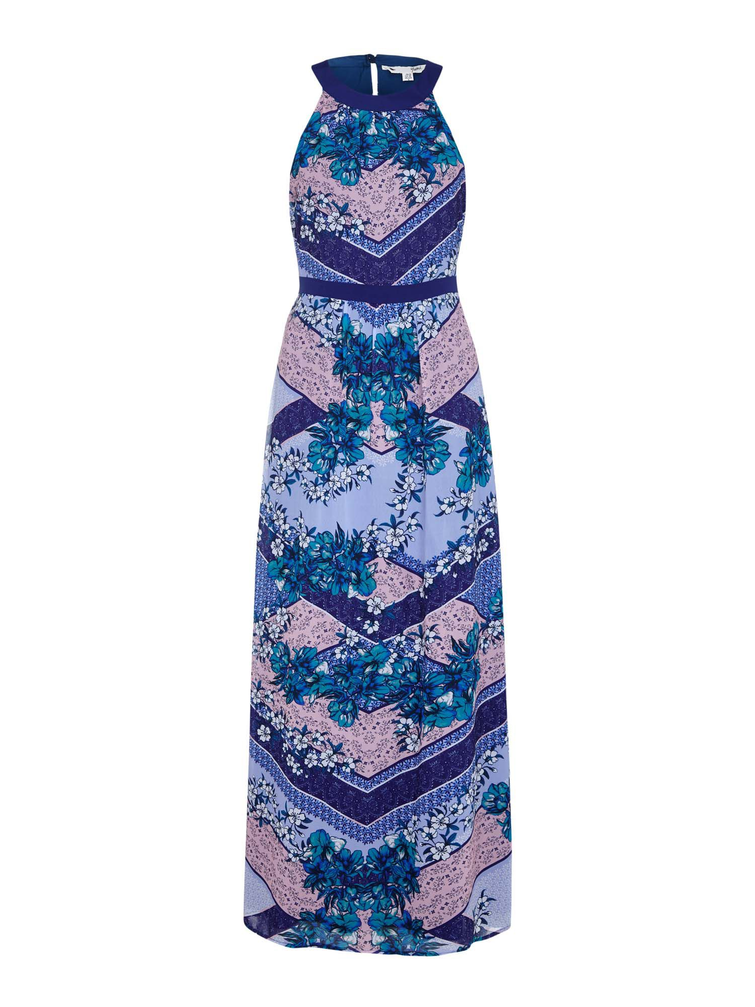 Yumi Scarf Print Georgette Maxi Dress, Blue