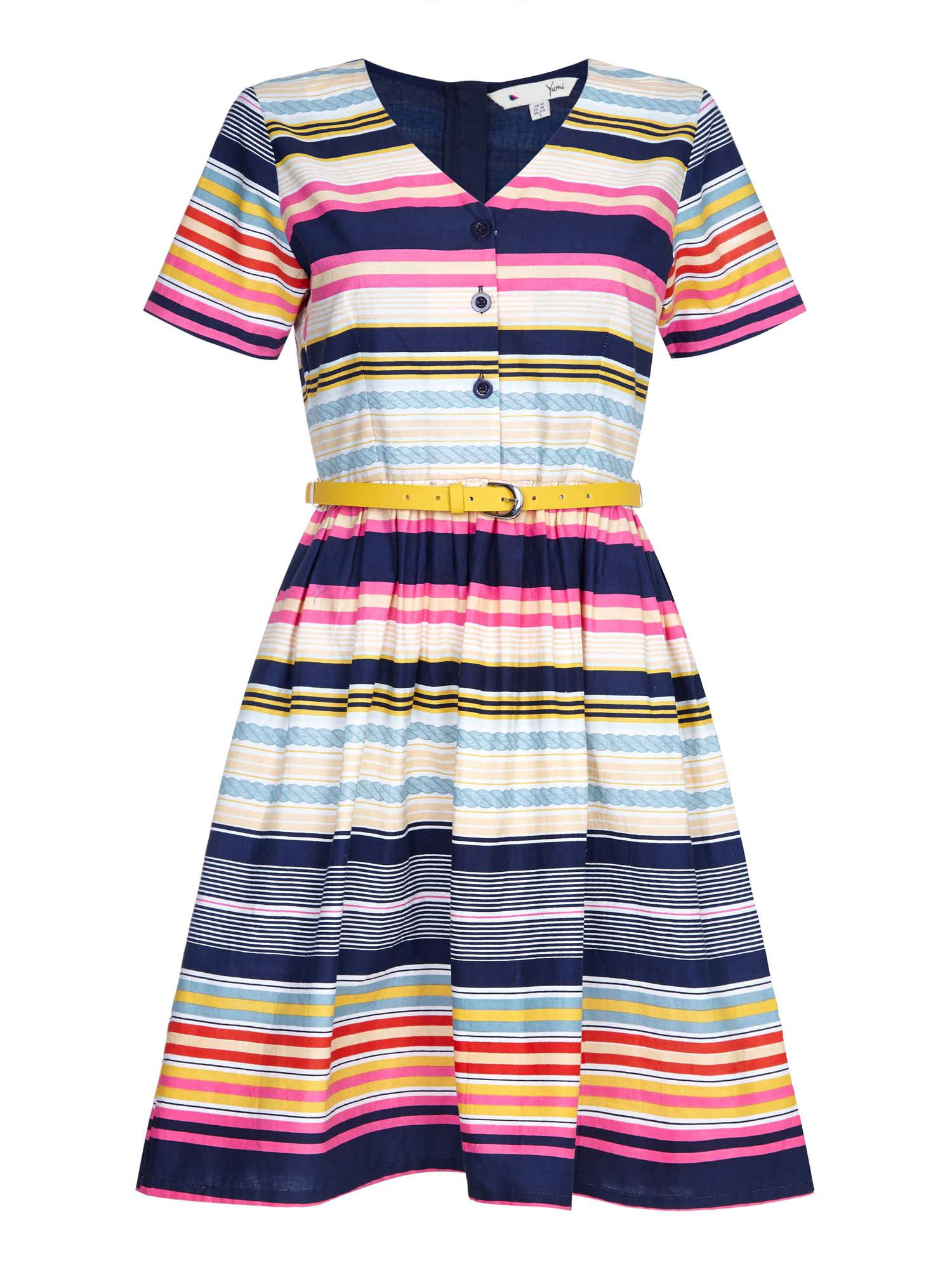 Yumi Stripe Belted Dress, Multi-Coloured