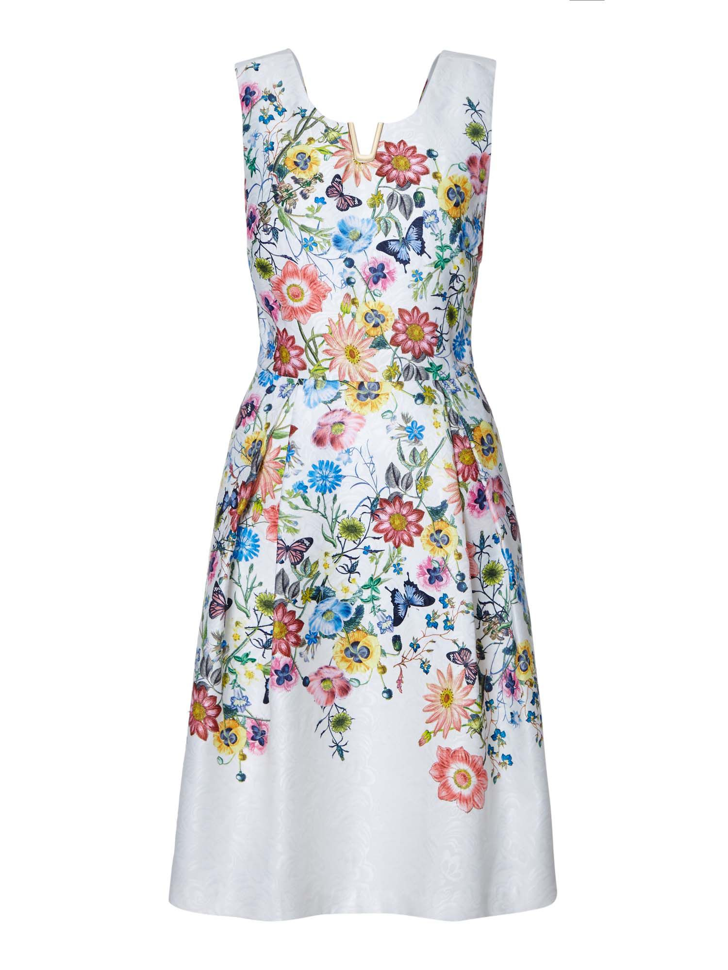 Yumi Floral Sleeveless Occasion Dress, Cream