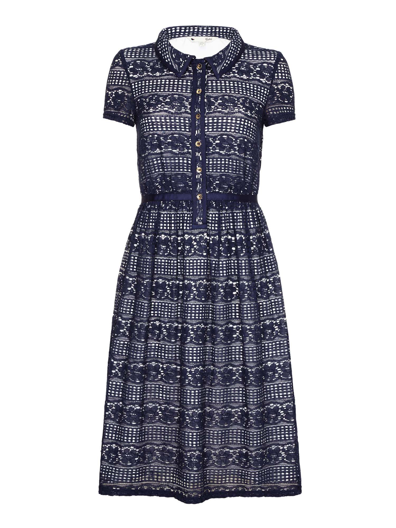 Yumi Lace Shirt Dress, Blue