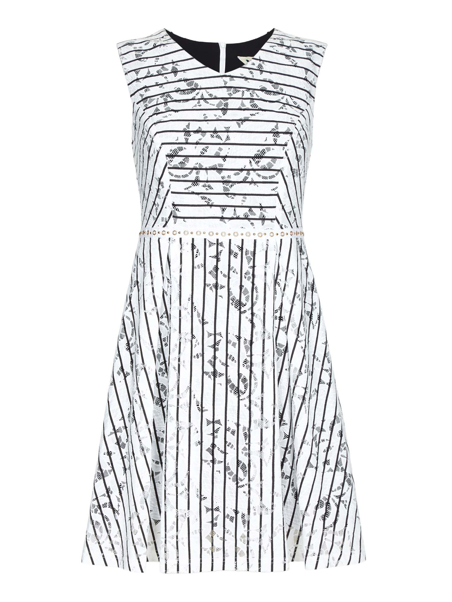 Yumi Stripe Lace Shift Dress, Cream