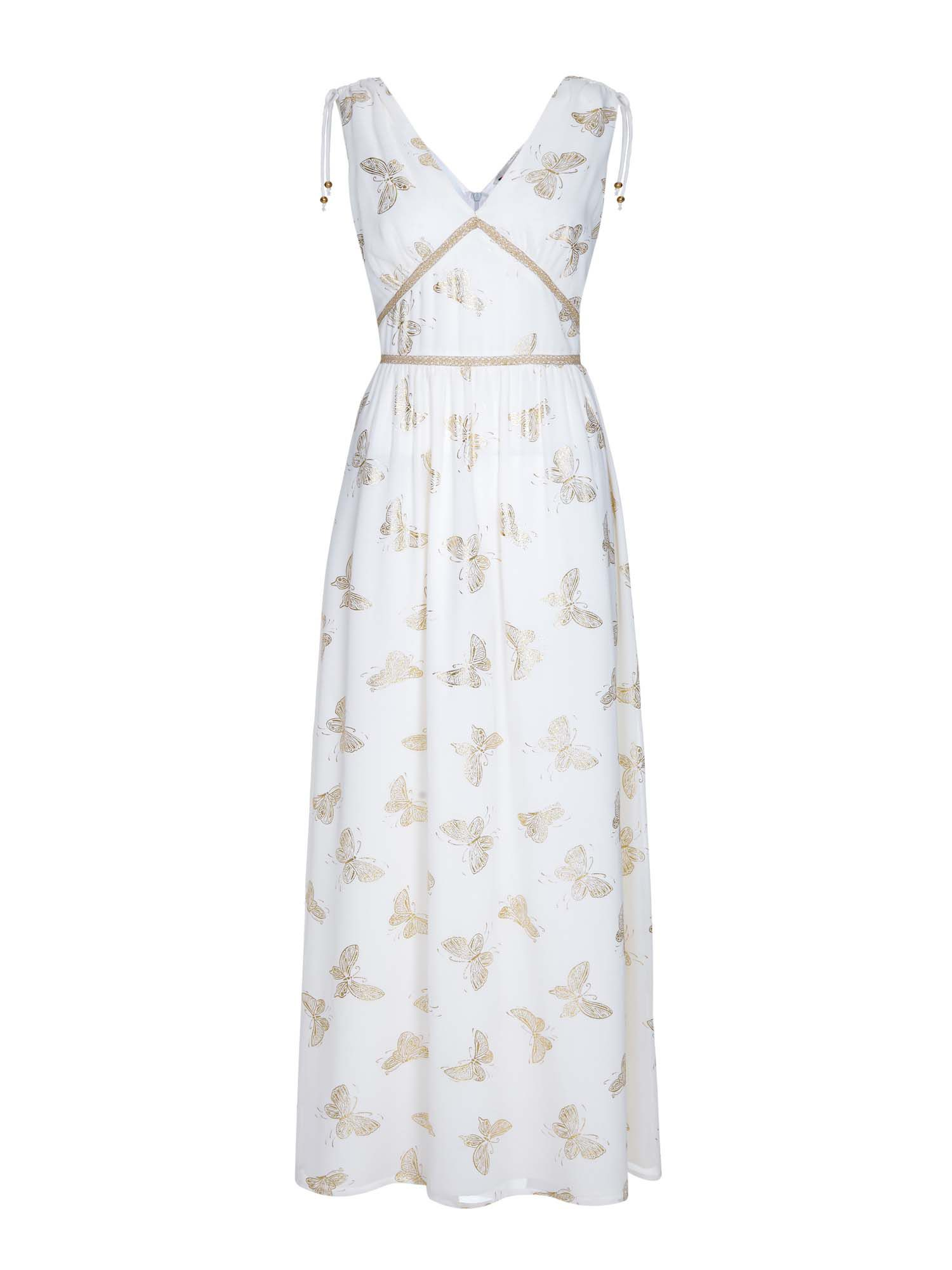 Yumi Foil Print Butterfly Dress, Cream