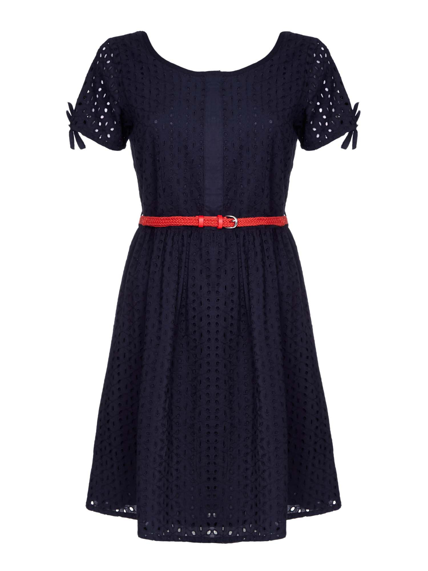 Yumi Broderie Anglaise Day Dress, Black