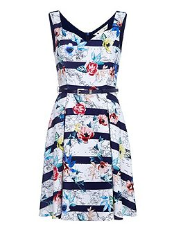 Floral Map Belted Dress