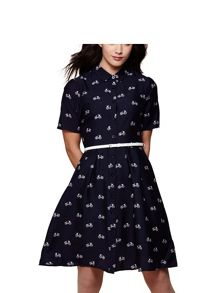 Yumi Bicycle Belted Shirt Dress