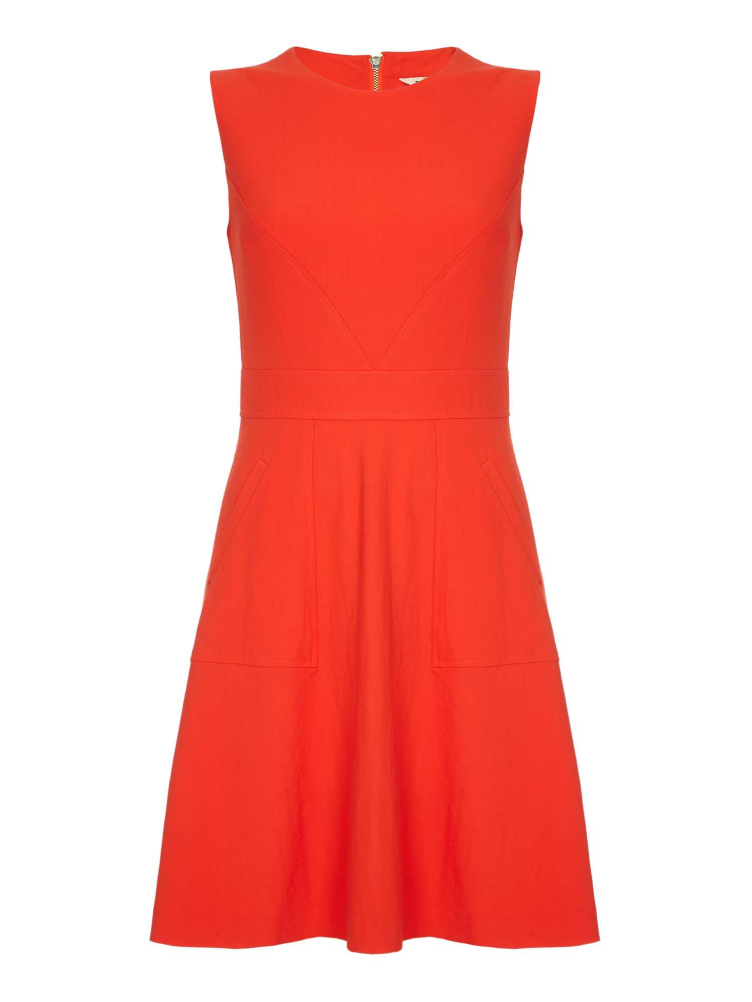 Yumi Stretch A-Line Dress, Red