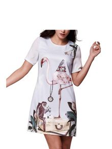 Yumi Short Sleeve Flamingo Tunic Dress