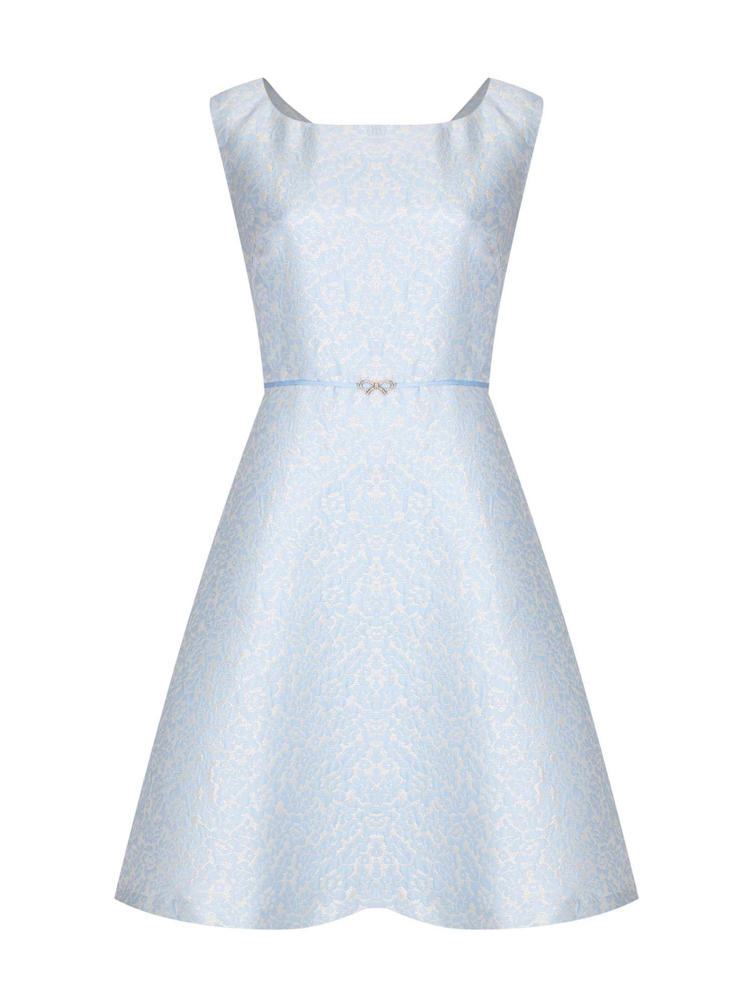 Yumi Jacquard BowTrim Dress, Blue