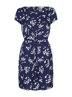 Floral Bird Ruched Dress
