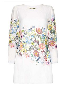 Botanical Georgette Tunic Dress