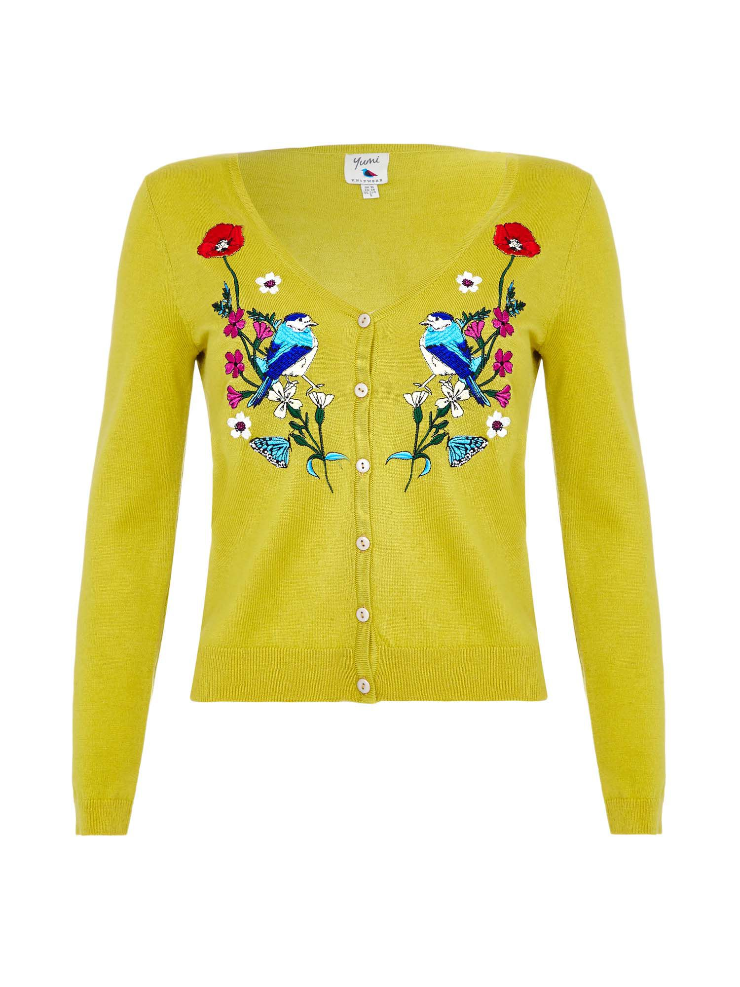 Retro Vintage Sweaters Yumi Floral Bird Embroidered Cardigan Yellow £60.00 AT vintagedancer.com