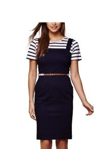 Yumi Stretch Denim Pinafore Dress