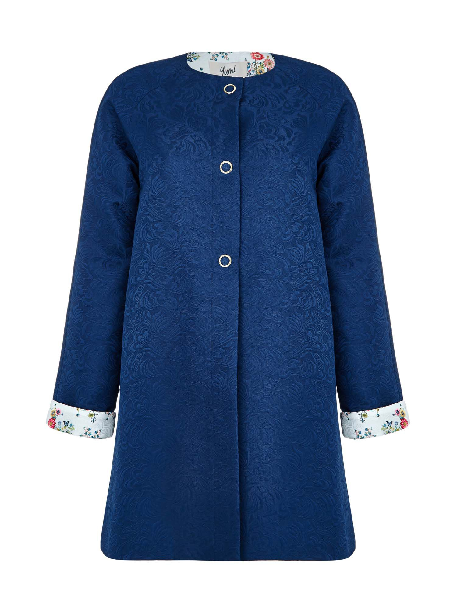 Yumi Botanical Lace Jacquard Coat, Blue
