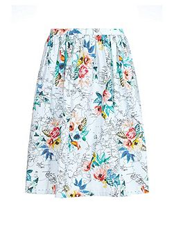 Tropical Flower Map Print Skirt
