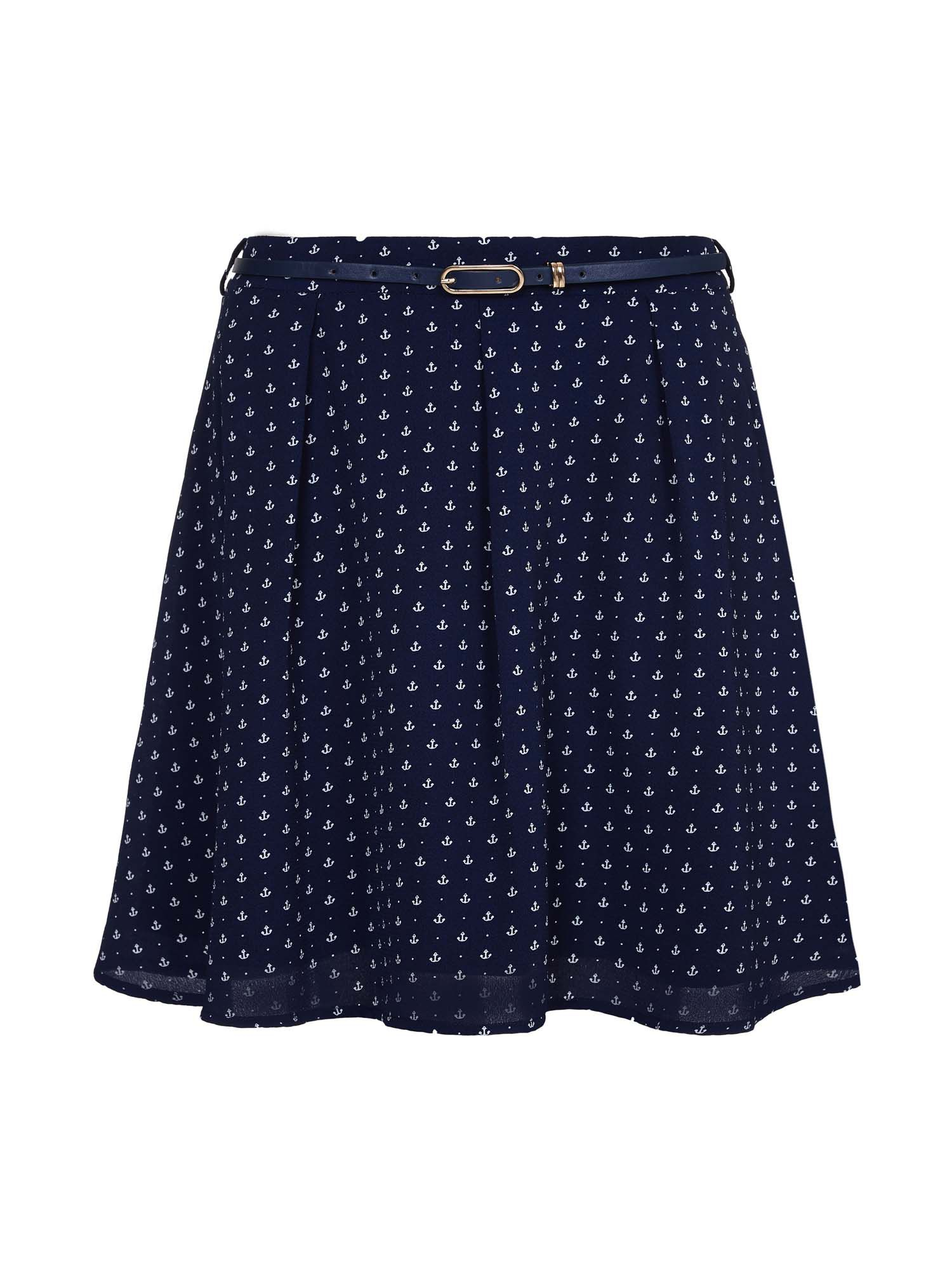 Yumi Anchor Belted Skirt, Blue
