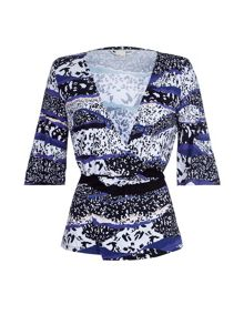 Yumi Graphic Wrap Jersey Top