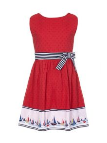 Yumi Girls Boat Border Skater Dress