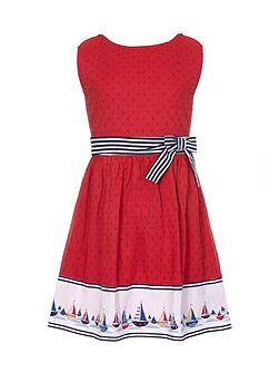 Boat Border Skater Dress