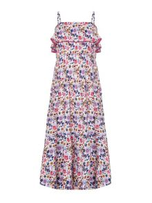 Yumi Girls Butterfly Print Frill Maxi Dress