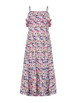 Butterfly Print Frill Maxi Dress