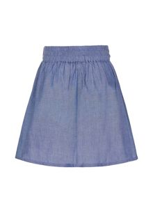Yumi Girls Pocket Bow Chambray Skirt