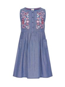 Yumi Girls Embroidered Smock Dress