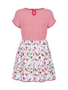 Yumi Girls Stripe Bird Short Sleeve Dress
