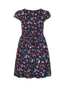 Yumi Girls Bird Print Short Sleeve Party Dress