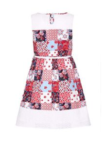 Yumi Girls Floral Patchwork Dress