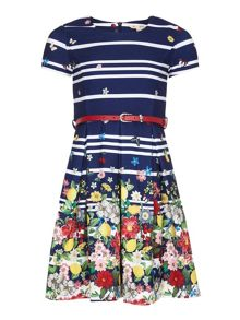 Yumi Girls Floral Stripe Belt Dress