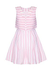 Yumi Girls Candy Stripe Collar Dress