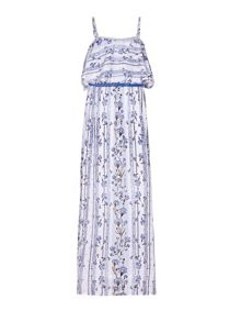 Yumi Girls Floral Print Belted Maxi Dress