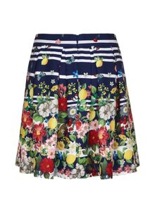 Yumi Girls Floral Stripe Pleated Skirt