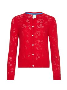 Yumi Girls Cherry Pointelle Knitted Cardigan