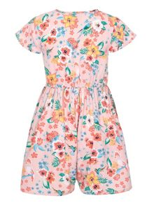 Yumi Girls Tropical Floral Short Sleeve Playsuit