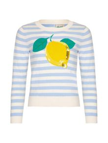 Yumi Girls Lemon Intarsia Stripe Jumper
