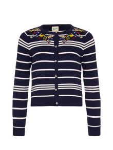 Yumi Girls Stripe Embroidered Cardigan