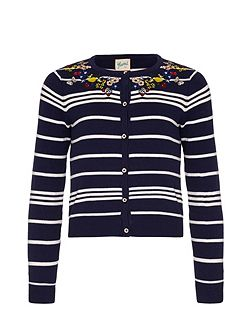 Stripe Embroidered Cardigan