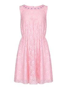 Yumi Girls Lace Embellished Neckline Dress