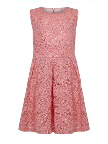 Yumi Girls Sequin Lace Party Dress